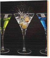 Three Martinis Wood Print