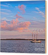 Three Masted Schooner At Anchor In The St Marys River Wood Print