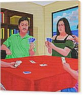 Three Men And A Lady Playing Cards Wood Print