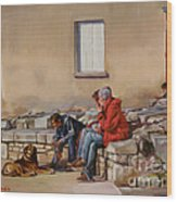 Three Men With A Dog Wood Print