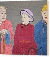 Three Mongolians Wood Print