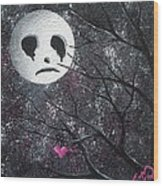 Three Moons Series - Man In The Moon Wood Print