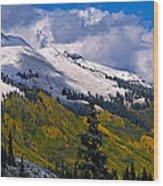 Three Needles Autumn Snow Wood Print