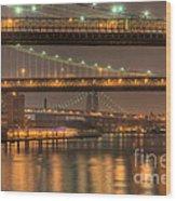 Three New York Bridges Wood Print