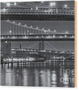 Three New York Bridges II Wood Print