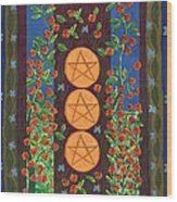 Three Of Pentacles Wood Print