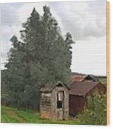 Three Old Sheds Wood Print by Charlette Miller