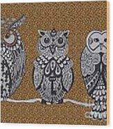 Three Owls On A Branch Leopard Print Wood Print