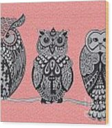Three Owls On A Branch Pink Wood Print