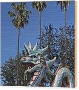 Three Palms Dragon Wood Print