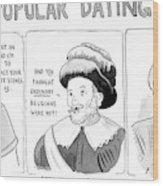 Three Panel Cartoon Of Online Dating Profiles Wood Print