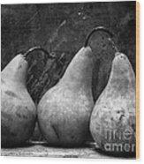 Three Pear Still Life Black And White Wood Print by Edward Fielding