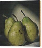 Three Pears Green Wood Print