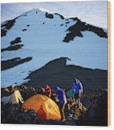 Three People Set Up Camp On Mount Adams Wood Print