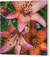 Three Pink Lilies Wood Print