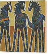 Three Ponies Wood Print by Lance Headlee