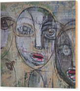 Three Portraits On Paper Wood Print