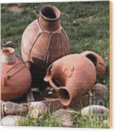 Three Pots Wood Print by Claudette Bujold-Poirier