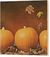 Three Pumpkins Wood Print by Amanda Elwell