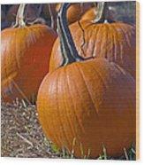Three Pumpkins Wood Print