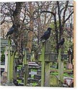 Three Ravens Wood Print