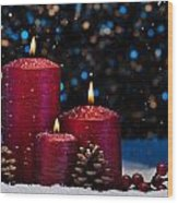 Three Red Candles In Snow  Wood Print
