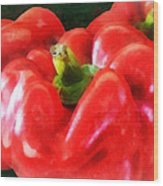 Three Red Peppers Wood Print