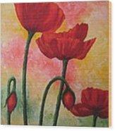 Three Red Poppies Wood Print