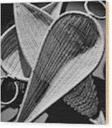 Three Reed Baskets Wood Print