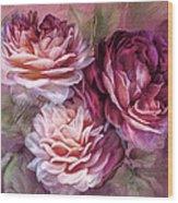 Three Roses Burgundy Greeting Card Wood Print
