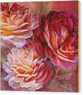 Three Roses Red Greeting Card Wood Print