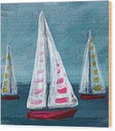 Three Sailboats Wood Print
