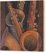 Three Sax Wood Print by Susanne Clark