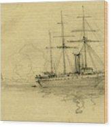 Three Ships At Sea, 1860-1865, Drawing, 1862-1865 Wood Print
