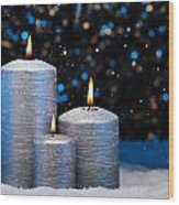 Three Silver Candles In Snow  Wood Print