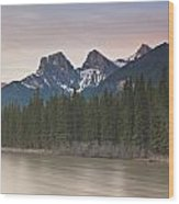 Three Sisters And Bow River Canmore Wood Print