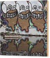 Three Skulls Graffiti Wood Print