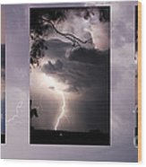 Three Strikes Lightning Wood Print