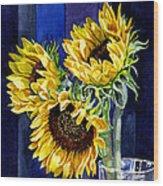 Three Sunny Flowers Wood Print