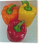 Three Sweet Peppers Wood Print