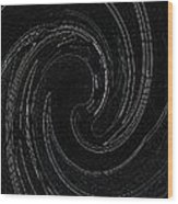 Three Swirls On Black Wood Print