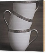 Three Tea Cups Wood Print