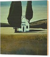 Three Trees And A Church Wood Print