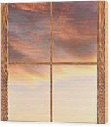 Three Trees Sunrise Barn Wood Picture Window Frame View Wood Print