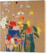 Three Vases Of Flowers Wood Print by Odilon Redon