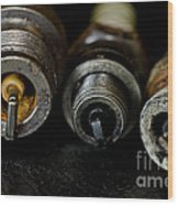 Three Vintage Rusty Spark Plugs  Wood Print by Wilma  Birdwell