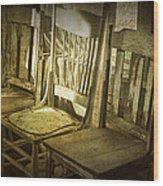 Three Vintage Wooden Chairs Wood Print