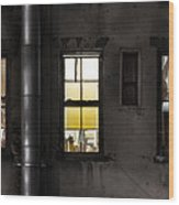 Three Windows And Pipe - The Story Behind The Windows Wood Print by Gary Heller