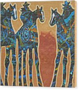 Three With Rope Wood Print by Lance Headlee