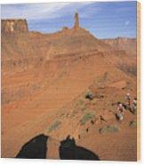 Three Women Mountain Biking In Moab Wood Print